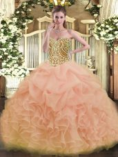 Best Sleeveless Floor Length Beading and Ruffles Lace Up Quinceanera Gown with Peach