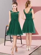 Pretty Dark Green Zipper Scoop Appliques Bridesmaid Gown Chiffon Sleeveless
