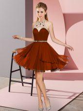Best Rust Red Empire Sweetheart Sleeveless Chiffon Mini Length Zipper Beading Prom Gown