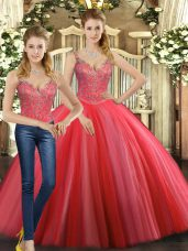 Floor Length Coral Red Quinceanera Dresses Straps Sleeveless Lace Up