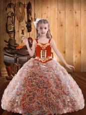 Multi-color Lace Up Pageant Gowns Embroidery and Ruffles Sleeveless Floor Length