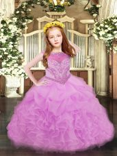 Scoop Sleeveless Organza Pageant Dress for Girls Beading and Ruffles and Pick Ups Zipper