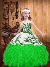 Cheap Green Sleeveless Embroidery and Ruffles Floor Length Womens Party Dresses