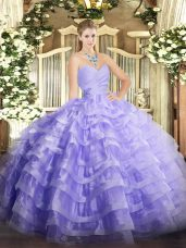 Inexpensive Lavender Quinceanera Dresses Military Ball and Sweet 16 and Quinceanera with Beading and Ruffled Layers Sweetheart Sleeveless Lace Up