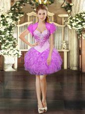 Beading and Ruffles Prom Dresses Lilac Lace Up Sleeveless Mini Length