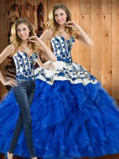 Charming Sleeveless Embroidery and Ruffles Lace Up 15 Quinceanera Dress