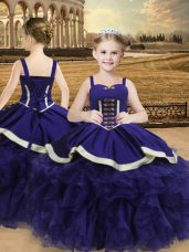 Attractive Purple Ball Gowns Straps Sleeveless Organza Floor Length Lace Up Beading and Ruffles Little Girls Pageant Dress