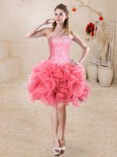 High End Watermelon Red Evening Dress Prom and Party with Beading and Ruffles Sweetheart Sleeveless Lace Up