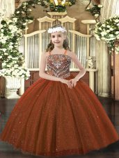 New Arrival Floor Length Lace Up Kids Formal Wear Rust Red for Party and Quinceanera with Beading