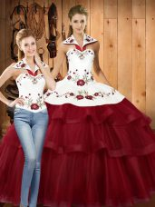Dramatic Sleeveless With Train Embroidery and Ruffled Layers Lace Up Quinceanera Gown with Wine Red Sweep Train