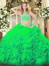 Green Sleeveless Floor Length Beading and Ruffles Backless Quince Ball Gowns