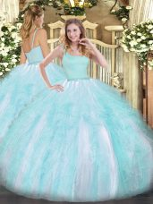 Top Selling Straps Sleeveless Zipper Quinceanera Dress Aqua Blue Tulle