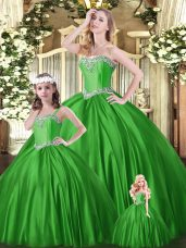 Glittering Sleeveless Lace Up Floor Length Beading Sweet 16 Quinceanera Dress