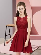 Most Popular Wine Red Sleeveless Appliques Mini Length Dama Dress for Quinceanera