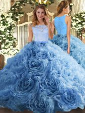 Fine Sleeveless Floor Length Beading and Ruffles Zipper Quinceanera Dresses with Baby Blue