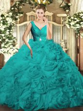Luxurious Fabric With Rolling Flowers V-neck Sleeveless Backless Beading and Ruching 15th Birthday Dress in Turquoise