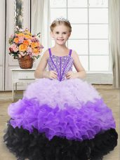 Organza Straps Sleeveless Lace Up Beading and Ruffles Child Pageant Dress in Multi-color