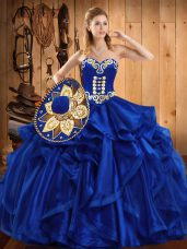 Royal Blue Ball Gowns Embroidery and Ruffles Quinceanera Dresses Lace Up Organza Sleeveless Floor Length