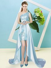 Graceful Elastic Woven Satin and Sequined Sleeveless High Low Juniors Party Dress and Sequins