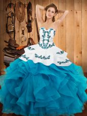 Classical Strapless Sleeveless Quinceanera Gown Floor Length Embroidery and Ruffles Teal Satin and Organza