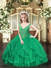 Beading and Ruffles Little Girls Pageant Dress Turquoise Lace Up Sleeveless Floor Length