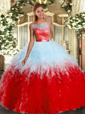 Multi-color Sleeveless Floor Length Beading and Ruffles Backless Quinceanera Gowns