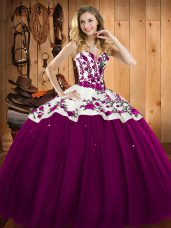 Ideal Sweetheart Sleeveless 15 Quinceanera Dress Floor Length Embroidery Fuchsia Satin and Tulle