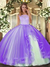 Lavender Ball Gowns Scoop Sleeveless Tulle Floor Length Clasp Handle Lace and Ruffles Sweet 16 Dress