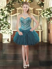 Inexpensive Beading and Ruffles Prom Party Dress Teal Lace Up Sleeveless Mini Length