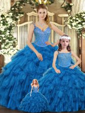 High End Ball Gowns 15th Birthday Dress Teal Straps Organza Sleeveless Floor Length Lace Up
