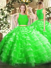 Green Sleeveless Organza Zipper Ball Gown Prom Dress for Military Ball and Sweet 16 and Quinceanera