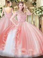 Sophisticated Sleeveless Tulle Floor Length Zipper Sweet 16 Dress in Peach with Beading and Ruffles