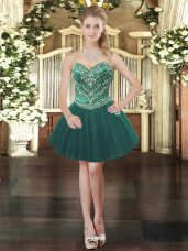 Cute Ball Gowns Prom Party Dress Dark Green Sweetheart Tulle Sleeveless Mini Length Lace Up