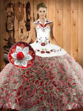 Elegant Sleeveless Sweep Train Embroidery Lace Up Quinceanera Gowns