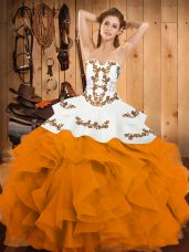 Gold Lace Up Quince Ball Gowns Embroidery and Ruffles Sleeveless Floor Length