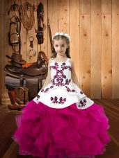 Fuchsia Sleeveless Floor Length Embroidery and Ruffles Lace Up Pageant Dresses