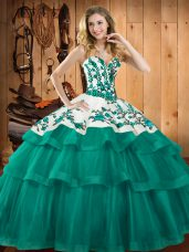 Turquoise Ball Gowns Embroidery Sweet 16 Dresses Lace Up Organza Sleeveless