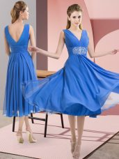 Delicate Chiffon Sleeveless Knee Length Bridesmaid Dress and Beading