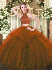 Smart Brown Backless Halter Top Beading and Ruffles 15th Birthday Dress Tulle Sleeveless