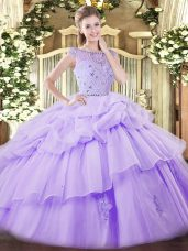 Tulle Bateau Sleeveless Zipper Beading and Ruffles and Pick Ups Sweet 16 Dress in Lavender