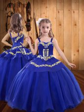 Inexpensive Straps Sleeveless Lace Up Pageant Gowns For Girls Royal Blue Organza