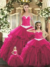 Adorable Ball Gowns Quinceanera Dress Red Sweetheart Organza Sleeveless Floor Length Lace Up
