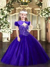 Fantastic Purple Ball Gowns Beading Pageant Gowns Lace Up Tulle Sleeveless Floor Length