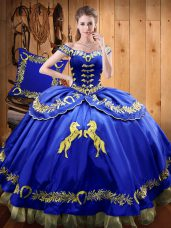 Royal Blue Satin and Organza Lace Up Off The Shoulder Sleeveless Floor Length Quinceanera Dress Beading and Embroidery