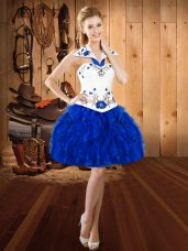 Royal Blue Sleeveless Organza Lace Up Prom Gown for Prom and Party
