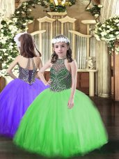 Glorious Sleeveless Tulle Floor Length Lace Up Glitz Pageant Dress in Green with Beading