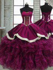 Sweetheart Sleeveless Lace Up Sweet 16 Dress Fuchsia Organza