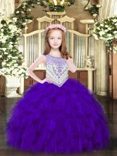 Best Purple Ball Gowns Beading and Ruffles Pageant Gowns For Girls Zipper Organza Sleeveless Floor Length