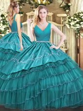 Beauteous Floor Length Teal 15 Quinceanera Dress Satin and Organza Sleeveless Embroidery and Ruffled Layers