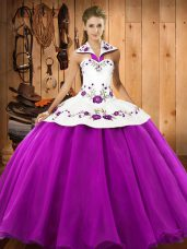Fuchsia Satin and Tulle Lace Up Quinceanera Dresses Sleeveless Floor Length Embroidery